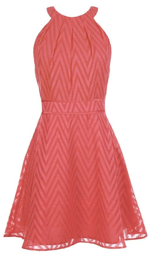 Coral Chevron Fit Flare Dress // L.O.V.E. This! find more women fashion ideas on www.misspool.com