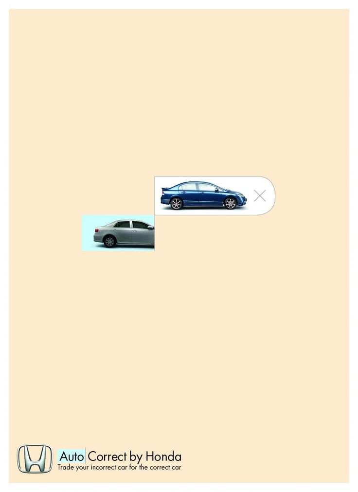"""#Honda created a very creative print ad called """"Autocorrect"""". They unveiled witty ads that cleverly use the auto correct function in text messages. Created by McCann Tel Aviv, the posters feature Honda car models as auto correct suggestions, alongside the tagline """"Trade your incorrect car for the correct car."""" #LOVEIT"""