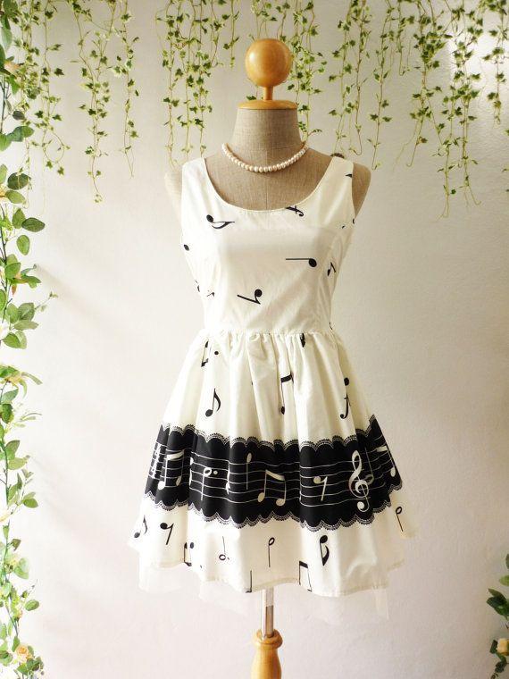 Music Dress Sweet Party White Dress Back Bow by myonefineday, $59.00