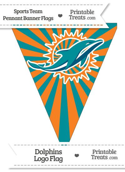 Miami Dolphins Pennant Banner Flag From Printabletreats
