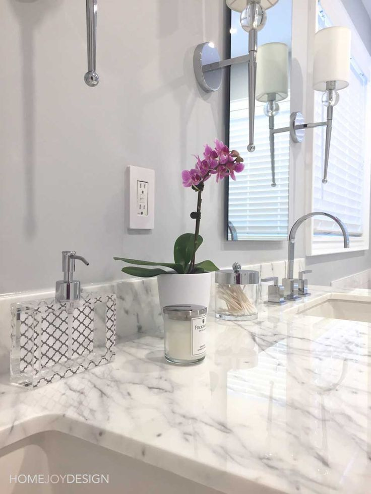 HOME JOY DESIGN | Master bathroom styling with accessories
