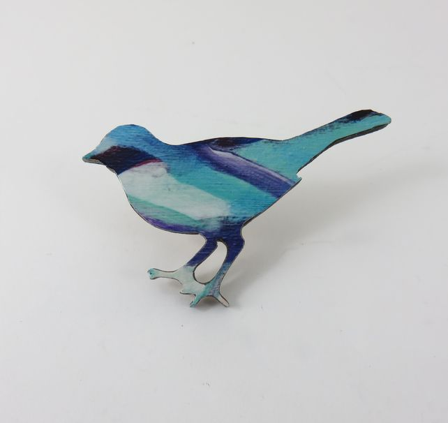 Wooden, Colourful, Magical Bird Brooch £12.00