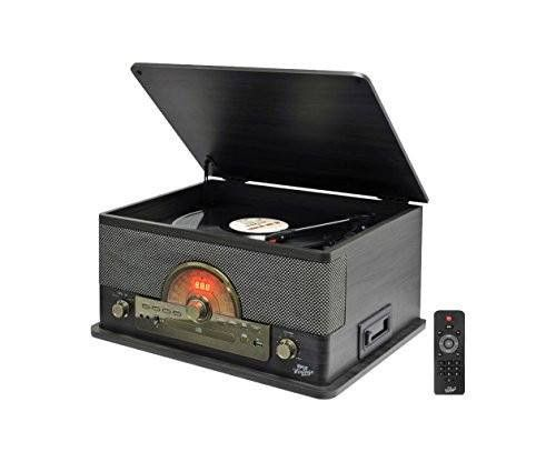record player stereo system Turntable stereo system for home CD Bluetooth Wireless audio USB Recording - Brown