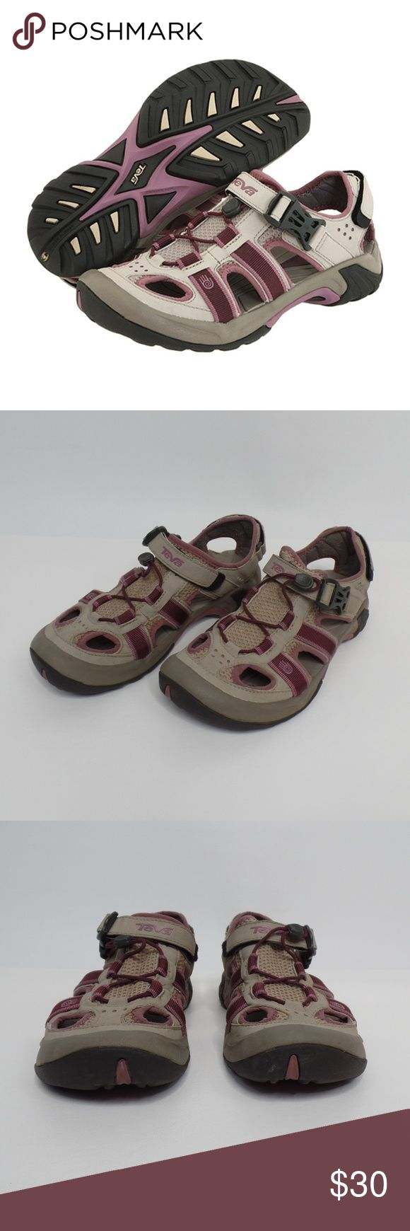 """TEVA {Omnium} Sandals TEVA Sandals {Omnium} #6154 River Water Shoes Outdoor Hiking Women's Size 8  Ready to go for all your adventures!   Features """"Spider Rubber"""" bottom and """"Anatomic Footbed Shoe Pad"""" For your comfort. Closed-toe sandal with grosgrain webbing overlays, multiple drainage ports and quick-dry mesh lining Shock-absorbing ShocPad technology in heel Molded EVA foam midsole Bungee lacing with quick-release buckled strap at vamp and hook-and-loop back strap  Excellent condition…"""