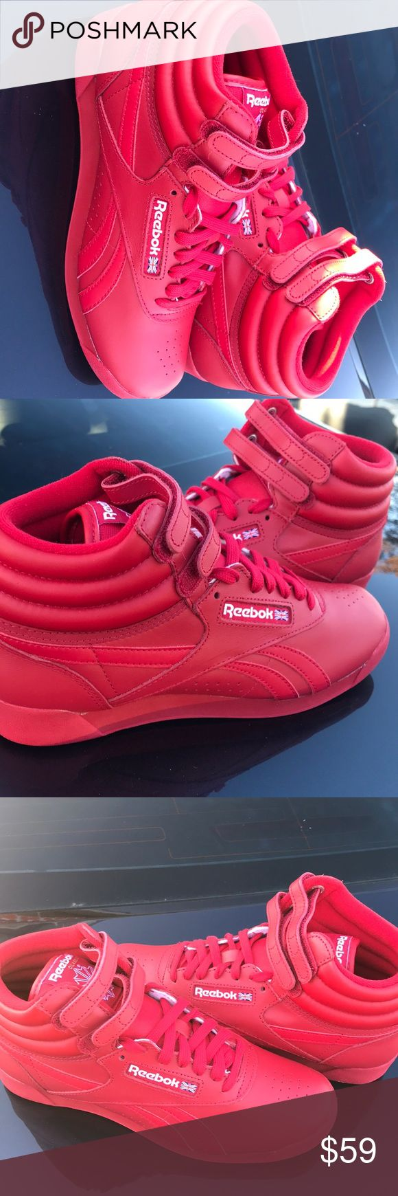 New Reebok Classic Red Womens HOT sneakers New pair of Womens Reebok Red in size 7.5, 7, 6.5, & 5 available. never worn. You have to add these sexy sneakers to your collection. Reebok Shoes Sneakers