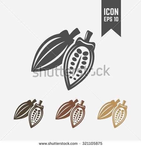 Cocoa pod isolated vector black icon and its color version