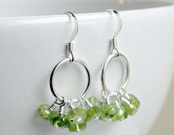 Cluster earrings  peridot earrings  sterling by handmadeintoronto, $30.00