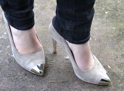 high suede heels with black skinnies metal toe cap, perfection