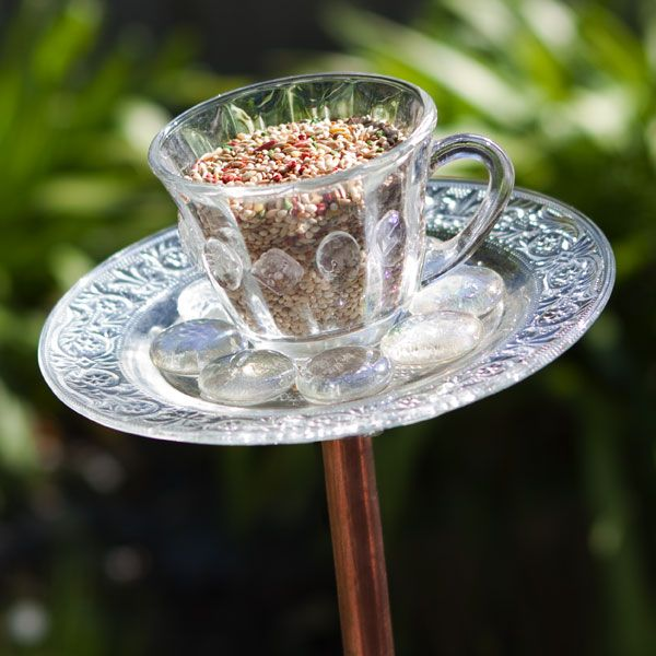 Teacup bird feeders!...you should make these (because old ladies would buy them hahaha)