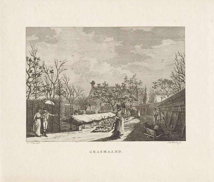 Izaak Jansz. de Wit | Figuren in een ommuurde tuin met kweekbakken, Izaak Jansz. de Wit, 1807 | Bezoekers in een tuin of kwekerij bekijken planten. Op de voorgrond een kruiwagen met daarin een gieter en een schop.