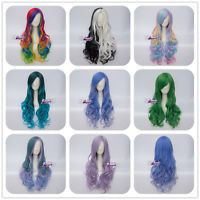 Multicolours Curly Long Hair Anime Lolita Synthetic Cosplay Wig Halloween Party