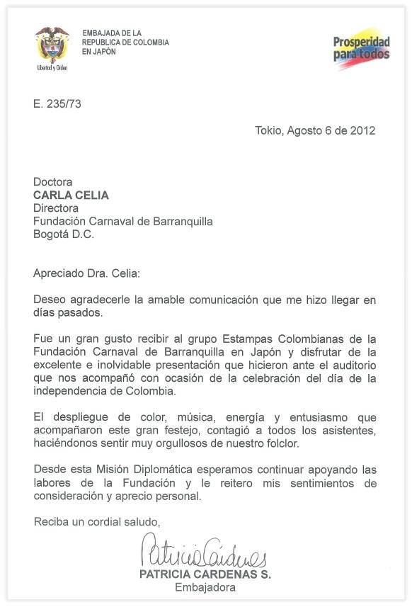 Carta de agradecimiento de la embajadora de Colombia en Japón, Patricia Cárdenas  -Great way to introduce formal letter writing.