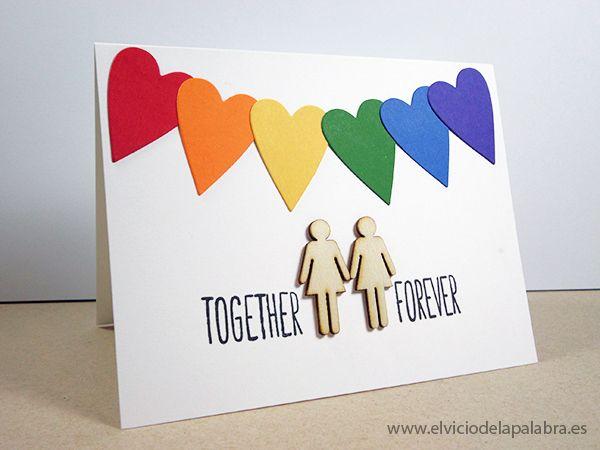 Tarjetas hechas a mano dedicadas al amor con decoración de madera de @Studio_Calico . Handmade cards about love with rainbow colours and wood embellishments from @Studio_Calico .