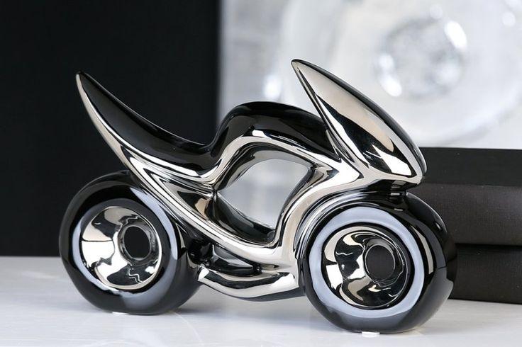 Dizajnová porcelánová motorka čiernostrieborná