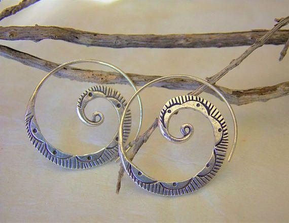 Silver earrigns. Hill tribe silver earrings. Ethnic earrings.