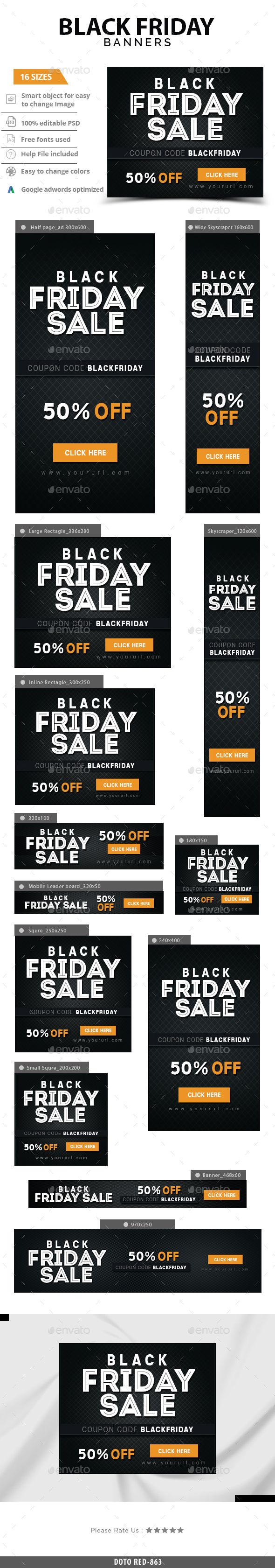 Blackfriday Web Banners Template PSD #design #ads Download: http://graphicriver.net/item/blackfriday-banners/13737246?ref=ksioks