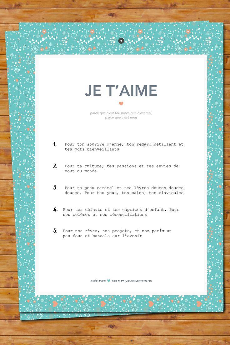Kit pour les amoureux par vie de miettes le journal de saxe webzine pinterest saints - Lettre saint valentin pour son cheri ...