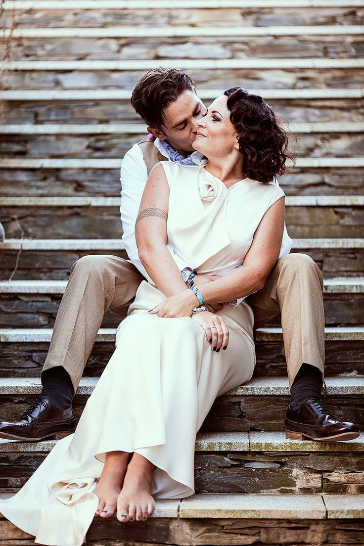 Bride and Groom from a 1930's Inspired a Family Wedding on the Cornish Coast   Photography by http://magiphotography.com/