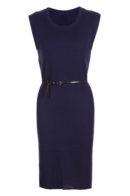 Belted Navy Blue Longline Dress   ROMWE wishlist