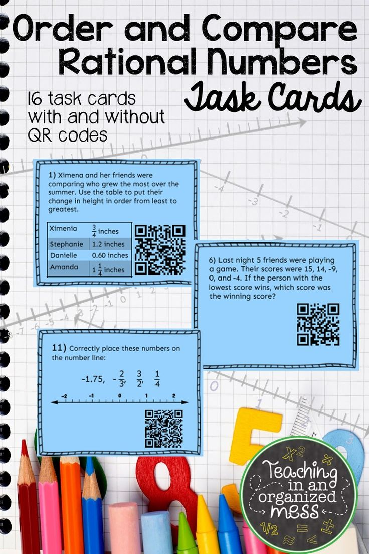 Ordering and Comparing Rational Numbers Task Cards with QR