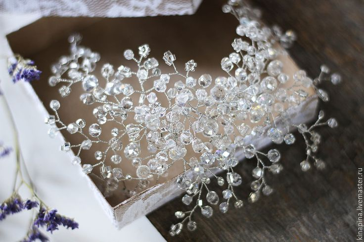 Купить Веточка для свадебной прически невесты блестящая с прозрачным. - гребень свадебный, гребень для волос, гребень