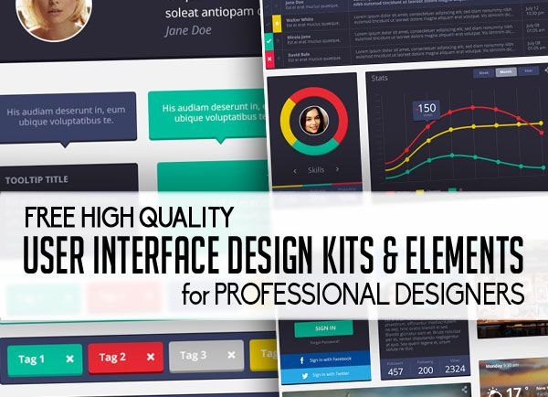 flat user interface design kits and elements