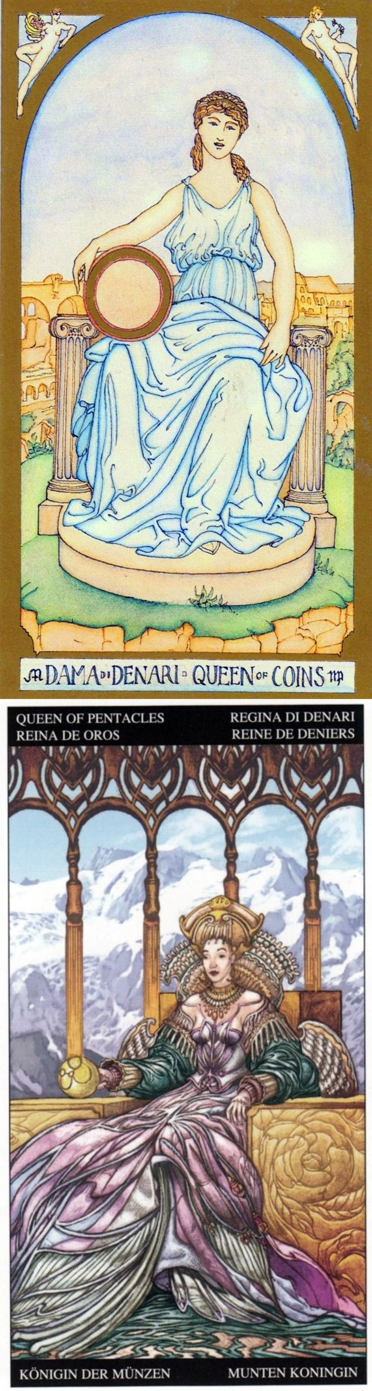 Queen of Pentacles: provides material comfort and imbalance of work and home life (reverse). Renaissance Tarot deck and Universal Fantasy Tarot deck: tarotwisdom, daily tarot reading spread vs online card reading. Best 2018 playing cards design and oracles.