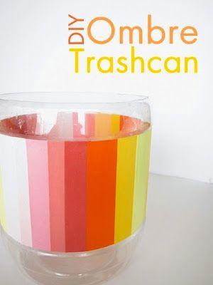 Make a trash can out of an old pretzel bin!Ombre Trashcan, Diy Ombre, Mod Podge, Diy Trash, Crafts Tables, Trash Bins, Plastic Container, Ombre Diy, Podge Rocks