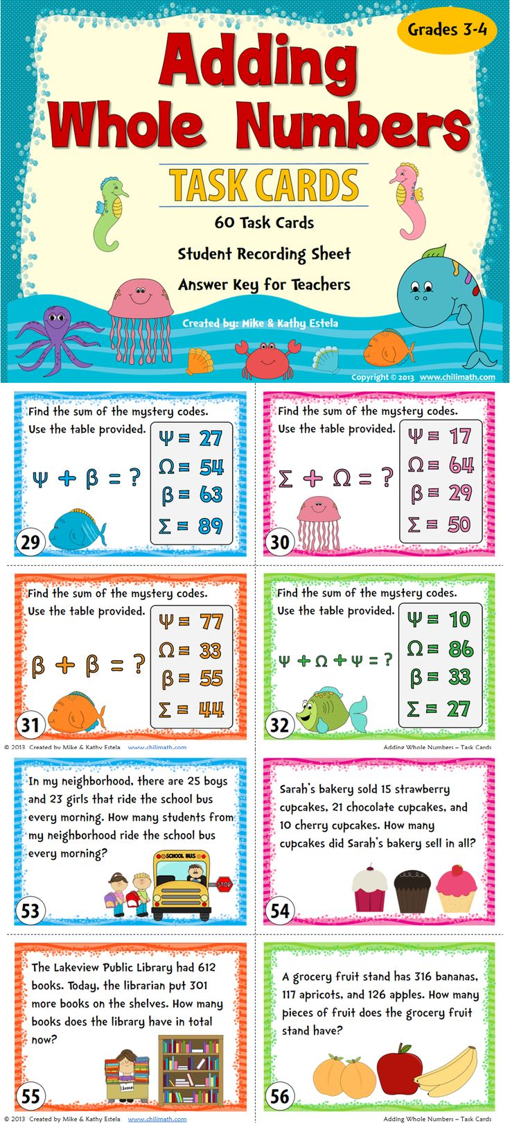 There are sixty (60) task cards in this set created to practice students' skills on how to add whole numbers with and without regrouping. $