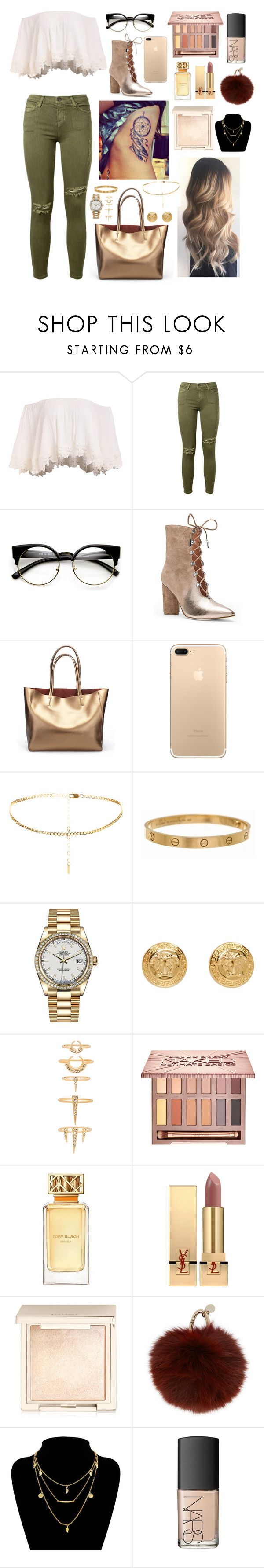 """""""Untitled #35"""" by lara-is ❤ liked on Polyvore featuring Current/Elliott, ZeroUV, Sigerson Morrison, Cartier, Rolex, Versace, Luv Aj, Urban Decay, Tory Burch and Yves Saint Laurent"""