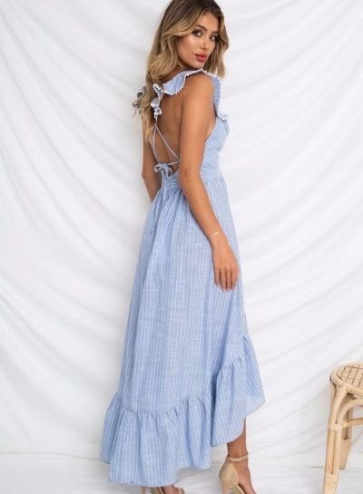 cf07ed4234dd Beautiful striped blue with white stripes deep V neck long summer dress  women