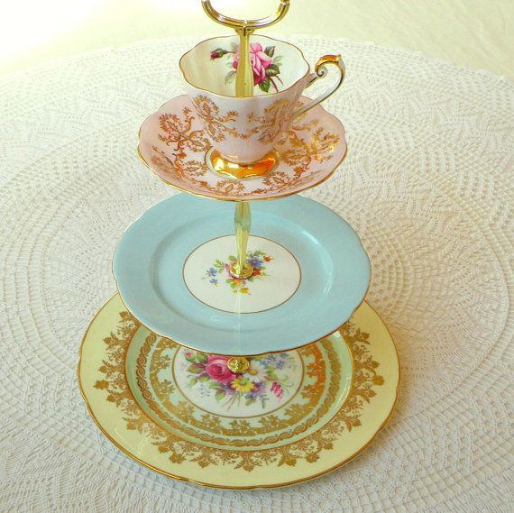 """Pastel """"layer cake"""" tiered cake plate, tea tray or serving centerpiece of vintage English fine bone china by High Tea For Alice"""