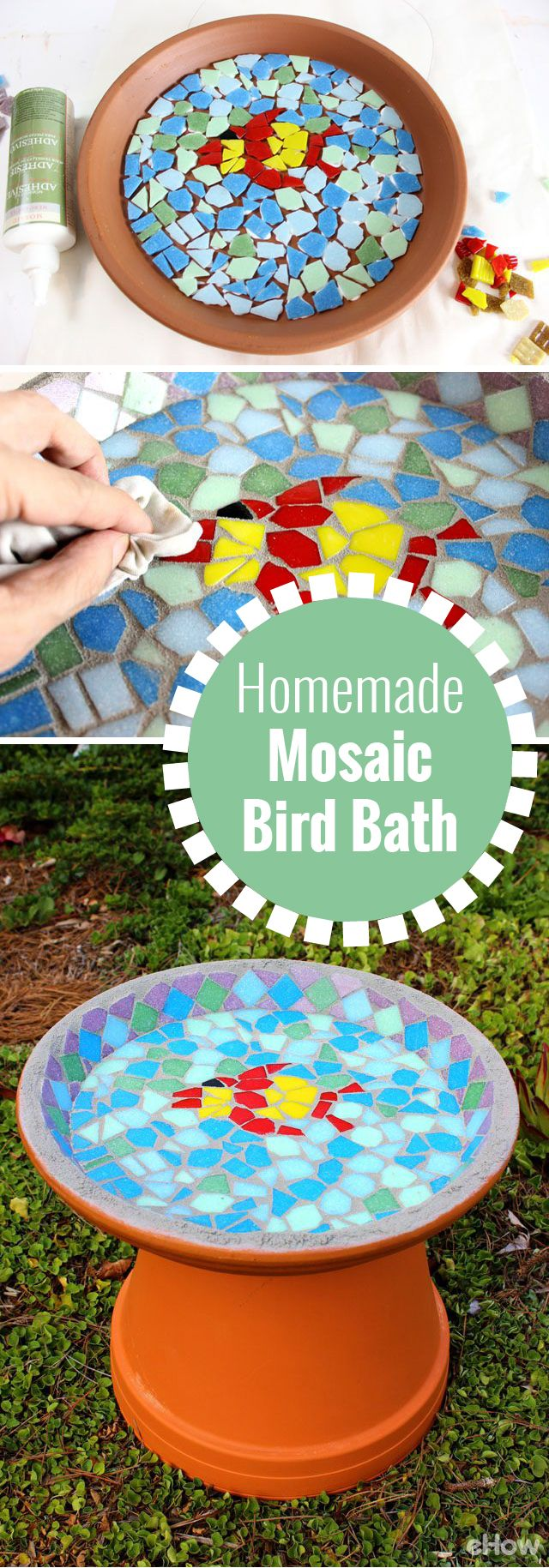 DIY your own mosaic bird bath!  DIY instructions here: http://www.ehow.com/way_5199803_homemade-bird-bath.html?utm_source=pinterest.com&utm_medium=referral&utm_content=freestyle&utm_campaign=fanpage