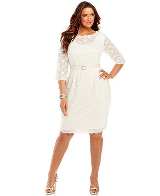 189 alex evenings plus size dress three quarter sleeve for Dresses for wedding rehearsal dinner