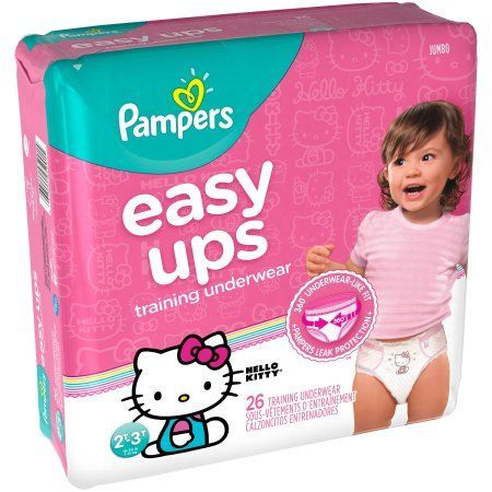 Pampers Easy Ups Training Underwear Girls Size 4 2T-3T 26 Count, Pink