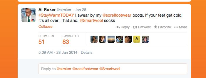 Al Roker tweeted about one of our favorite cold weather products @SmartWool He swears by them and so do we! #itsgotime #StayWarmTODAY
