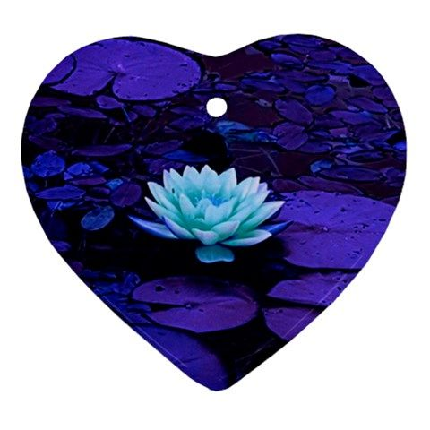 Lotus+Flower+Magical+Colors+Purple+Blue+Turquoise+Heart+Ornament+(2+Sides)+Heart+Ornament+(Two+Sides)