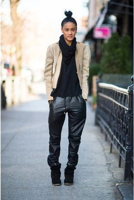 leather jogging pants