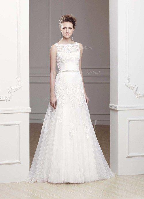 Bröllopsklänningar - $183.39 - A-linjeformat Rund-urringning Sweep släp Satäng Tyll Bröllopsklänning med Spetsar Pärlbrodering (00205002567)