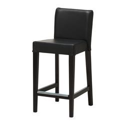 IKEA - HENRIKSDAL, Bar stool with backrest, Soft, hardwearing and easy care leather, which ages gracefully.The padded seat means you sit comfortably.Footrest for extra sitting comfort.The chair legs are made of solid wood, which is a durable natural material.