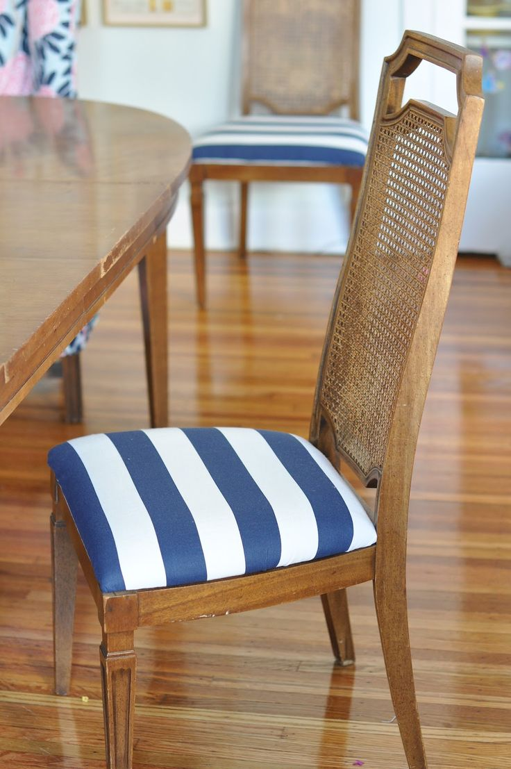 24 best reupholstered chairs images on pinterest vintage chairs reupholstered dining chair blue white stripes