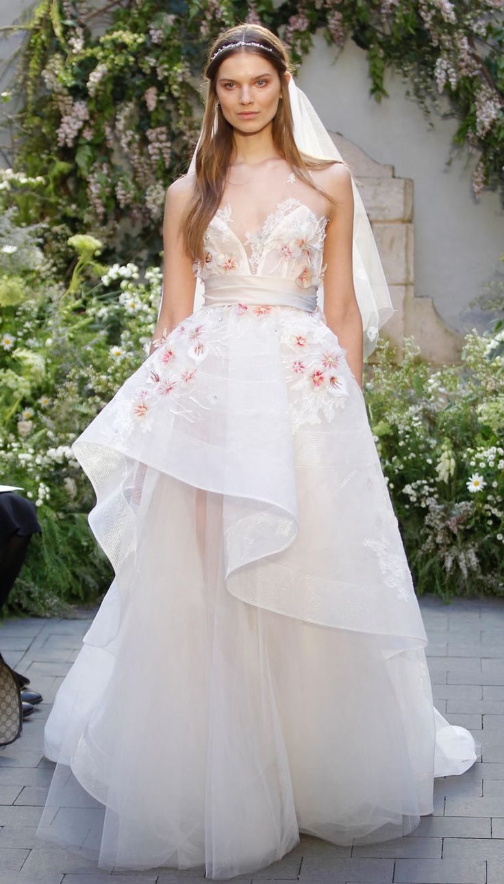 201 best wedding dresses images on pinterest wedding dressses monique lhuillier spring 2017 white silk a line wedding dress with floral embroidered ombrellifo Images
