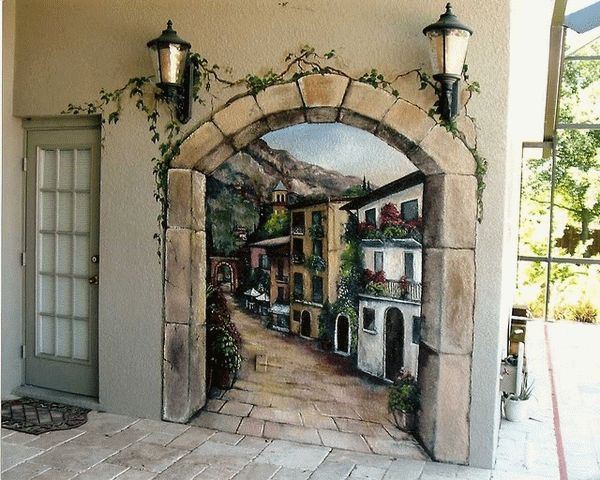 Exterior Wall Decoration Ideas: Door Wall Murals Design Some