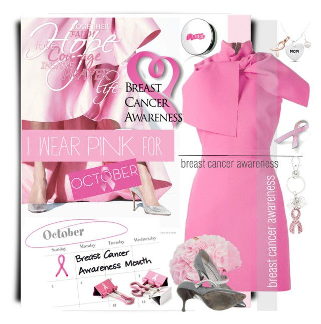 """""""Breast Cancer Awareness Month"""" by betiboop8 ❤ liked on Polyvore featuring La Mer, MSGM, Oscar de la Renta, Bling Jewelry, Betsey Johnson, Officemate, Religion Clothing, Marc Jacobs and IWearPinkFor"""