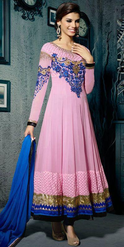 USD 59.74 Light Pink Georgette Ankle Length Anarkali Suit 42521