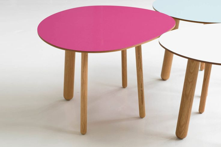 Morris coffee table model 1 in pink, model 5 in lagoon blue and model 2 in white