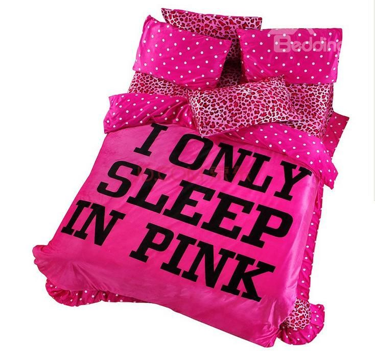 100 % Cotton Sexy Pink Leopard Flannel 4 Piece Bedding Sets