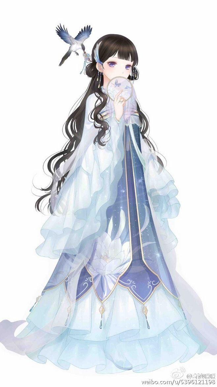 Miracle Nikki ... Seerosen Kleid ... lange braune Haare ... Luftblase vor Mund ... kleiner Vogel als Begleiter