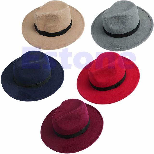 Мужчины женщины джаз бантом трудно чувствовал мягкая фетровая шляпа котелок панама широкий шляпы бандитский Cap
