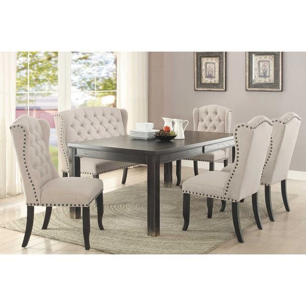 Ivie 6 Piece Dining Set By Condor Manufacturing Is Now Available At American Furniture Warehouse Shop Dining Table Black Black Dining Room Dining Room Design